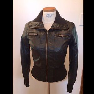 Forever 21 small petite black leather jacket
